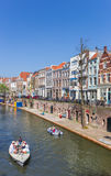 Small boats in the historic Oudegracht canal of Utrecht Stock Photography