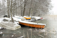 Small boats in lake in early spring Royalty Free Stock Photography