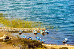 Small Boats on Lake Titicaca Royalty Free Stock Images