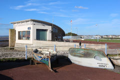 Small boats and lifeboat station, Morecambe Stock Image