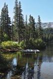 Small boats on Mammoth lake Stock Photo