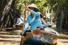 Small boats on Mekong River Delta Stock Photography