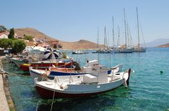 Emborio harbour, Halki stock photography