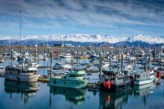 Homer Alaska Fishing Harbor Royalty Free Stock Images