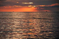 Small Boats On The Adriatic Sea At Sunset Stock Image