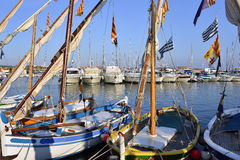Small boats in the port of Bandol in France Stock Photos