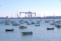 Small boats in the port of cadiz Royalty Free Stock Photos
