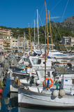 Small boats in Port de Soller marina Stock Images