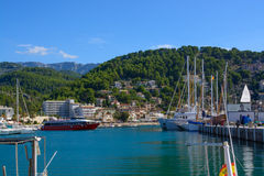 Small boats in Port de Soller marina Stock Image