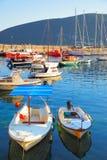 Small boats in port of Herceg Novi Royalty Free Stock Image