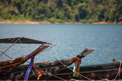 Small boats in the Ratchapapha dam, Surat Thani, Thailand Royalty Free Stock Images