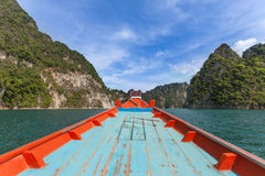 Small boats in the Ratchapapha dam, Surat Thani, Thailand Stock Photos