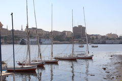 Small boats in the river. Boats in the calm nile water Royalty Free Stock Photo