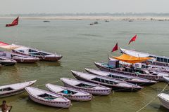 Small boats at river Ganges in Varanasi, Ind. Ia stock photography