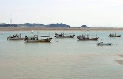 Small boats in seaport, Tardo port, South Korea stock photography