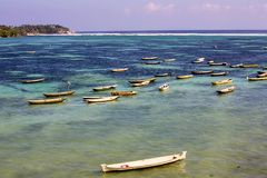 Small boats seaweed gatherers, Lembongan, Indonesia Royalty Free Stock Image