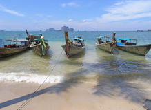 Small boats on Thailand beach Royalty Free Stock Photography