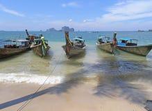 Small boats on Thailand beach Royalty Free Stock Photography