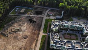 Aerial panorama on small boiler station near residential area and apartment building stock video footage