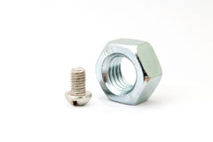 Small bolt and big female screw Royalty Free Stock Image