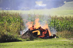 Small bonfire burning residential material Royalty Free Stock Photos