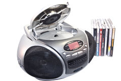 Small Boom Box with CDs Royalty Free Stock Photos