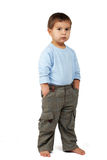 Small boss. On white. earnest young boy royalty free stock image