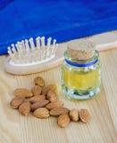 Small bottle of almond oil Stock Photo