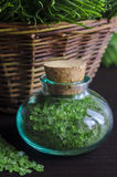 Small bottle of bath salt Stock Photo