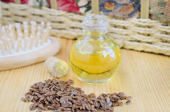 Small bottle of flax oil Stock Photography
