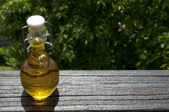 Small bottle of Olive Oil. Nature donates a small bottle of italian Olive Oil Royalty Free Stock Photo