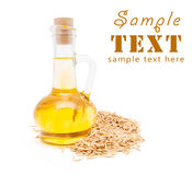 Small Bottle With Vegetable Oil Stock Photo