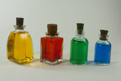 small bottles with colored dye Royalty Free Stock Photos