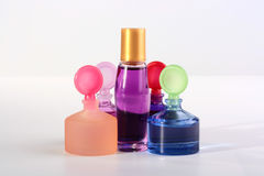 Small bottles with cosmetics Royalty Free Stock Photos