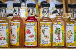 Small bottles of organic cordial Royalty Free Stock Photo