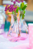 A small bouquet of flowers in a glass vase. In pink tones Royalty Free Stock Photo