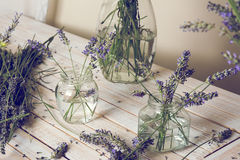 Small bouquet of fresh lavender in jars with water Stock Photo