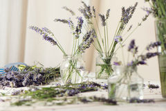Small bouquet of fresh lavender in jars with water Royalty Free Stock Photo