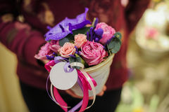 Small bouquet of pink and purple flowers Stock Photos