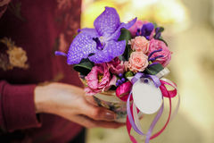 Small bouquet of pink and purple flowers Stock Photo