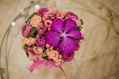 Small bouquet of pink and purple flowers Royalty Free Stock Photos