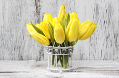 Small bouquet of yellow tulips Royalty Free Stock Photo