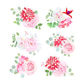 Small bouquets of pink rose, white peony, red motley dahlia Royalty Free Stock Image