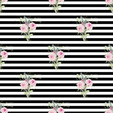 Small bouquets of roses and lavender on a background of stripes and lines in black and white. Royalty Free Stock Photography