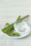 Small bowl with aloe vera gel and plant. Close-up of aloe vera and aloe vera gel on wooden table Stock Photography