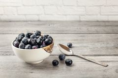 Small bowl of black blueberries with spoon next to it, placed on stock photo
