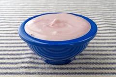 Small bowl of black cherry Greek yogurt Royalty Free Stock Images