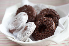 Small bowl with chocolate doughnuts Stock Photos