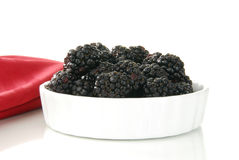 Small bowl of fresh blackberries Stock Photo