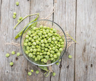 Small bowl with fresh Peas Stock Image